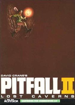 Box artwork for Pitfall II: Lost Caverns.