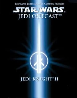 Box artwork for Star Wars Jedi Knight II: Jedi Outcast.