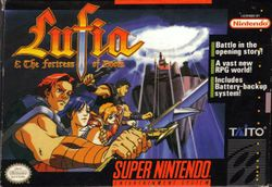 Box artwork for Lufia & the Fortress of Doom.
