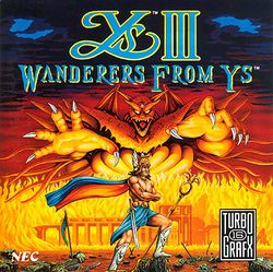 Box artwork for Ys III: Wanderers from Ys.
