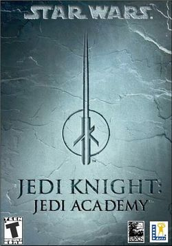 Box artwork for Star Wars Jedi Knight: Jedi Academy.