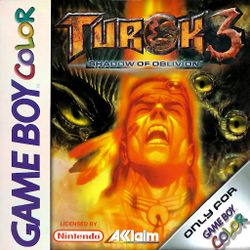 Box artwork for Turok 3: Shadow of Oblivion (GBC).