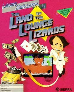 Box artwork for Leisure Suit Larry in the Land of the Lounge Lizards.