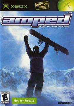 Box artwork for Amped: Freestyle Snowboarding.