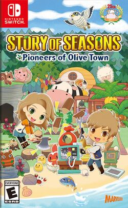 Box artwork for Story of Seasons: Pioneers of Olive Town.