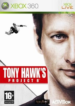 Box artwork for Tony Hawk's Project 8.