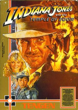 Box artwork for Indiana Jones and the Temple of Doom (NES).