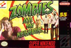 Box artwork for Zombies Ate My Neighbors.