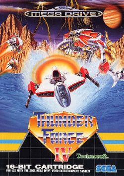 Box artwork for Thunder Force IV.