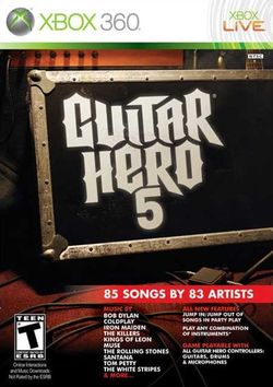 Box artwork for Guitar Hero 5.