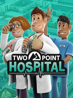 Box artwork for Two Point Hospital.
