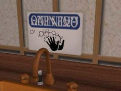 """Sims Must Wash Hands"" Sign."
