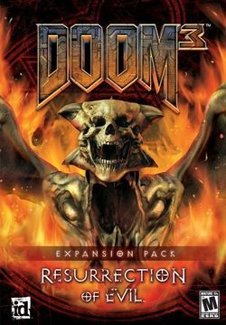 Box artwork for Doom 3: Resurrection of Evil.