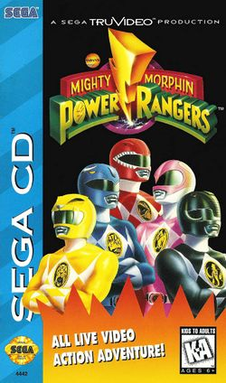Box artwork for Saban's Mighty Morphin Power Rangers.