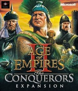 Box artwork for Age of Empires II: The Conquerors.