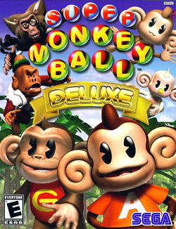 Box artwork for Super Monkey Ball Deluxe.