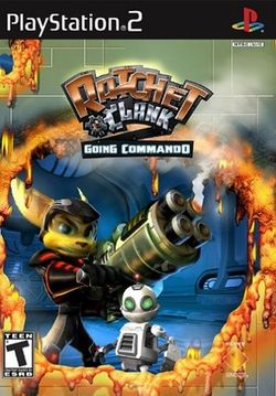 Box artwork for Ratchet & Clank: Going Commando.