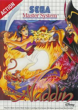 Box artwork for Disney's Aladdin.