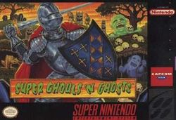 Box artwork for Super Ghouls 'n Ghosts.