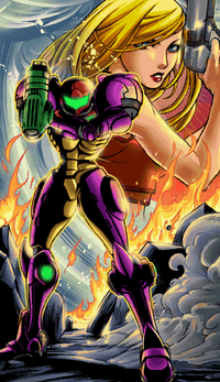 Samus in her Gravity Suit at the end of Metroid: Zero Mission