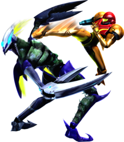 Samus attacking a Cyborg Zebesian