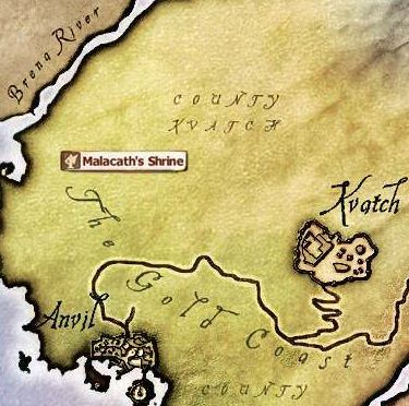 The elder scrolls iv obliviondaedric quests strategywiki the malacaths shrine is north of anvil in the wilderness gumiabroncs Choice Image