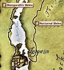 The elder scrolls iv obliviondaedric quests strategywiki the sheogoraths shrine is off the road north and west of leyawiin likewise nocturnal is off gumiabroncs Choice Image