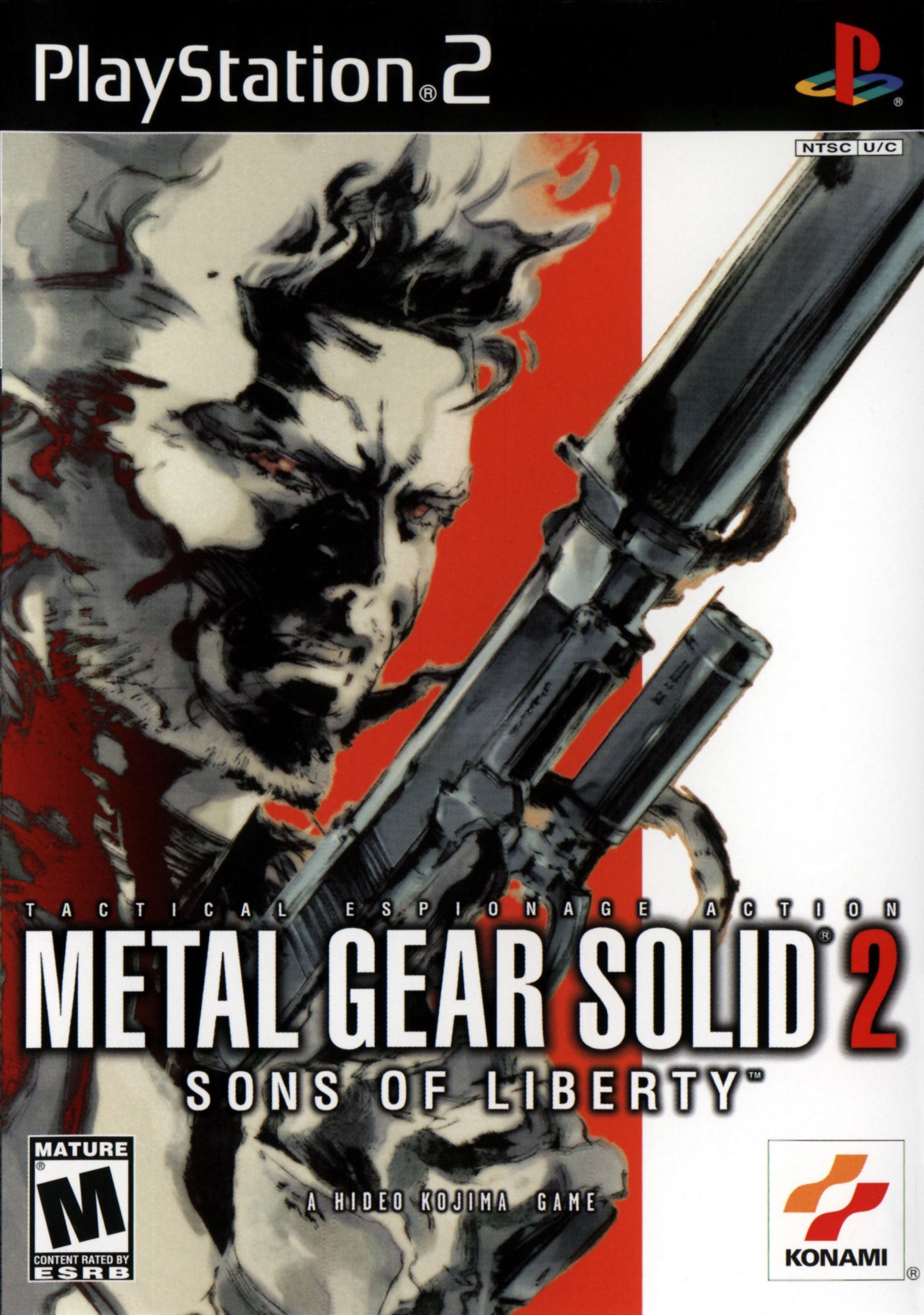 Box artwork for Metal Gear Solid 2: Sons of Liberty.