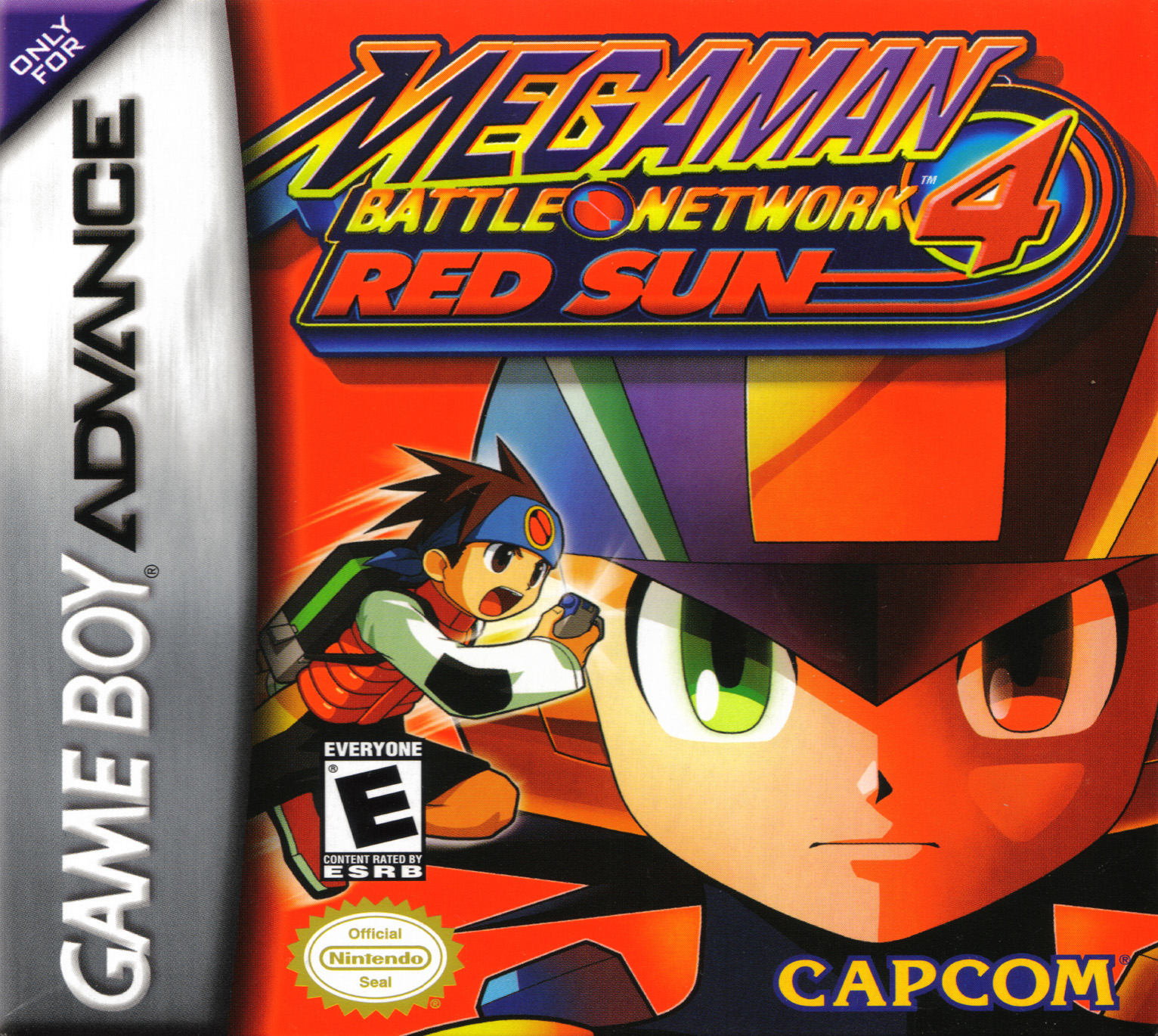 Box artwork for Mega Man Battle Network 4 Red Sun and Blue Moon.