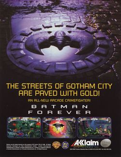 Box artwork for Batman Forever: The Arcade Game.
