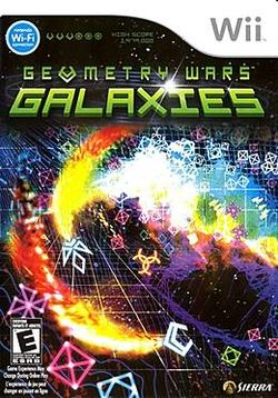 Box artwork for Geometry Wars: Galaxies.