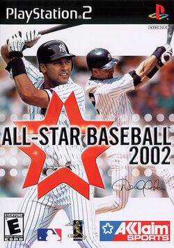 Box artwork for All-Star Baseball 2002.