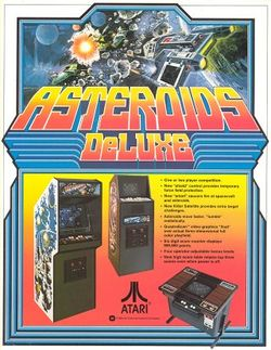 Box artwork for Asteroids Deluxe.