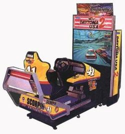 Box artwork for Daytona USA 2: Battle on the Edge.