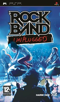 Box artwork for Rock Band: Unplugged.