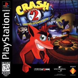 Box artwork for Crash Bandicoot 2: Cortex Strikes Back.