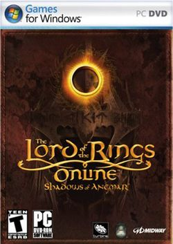Box artwork for The Lord of the Rings Online: Shadows of Angmar.