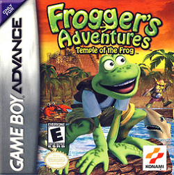 Box artwork for Frogger's Adventures: Temple of the Frog.