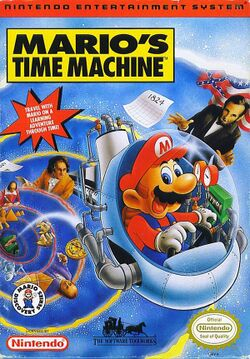Box artwork for Mario's Time Machine (NES).