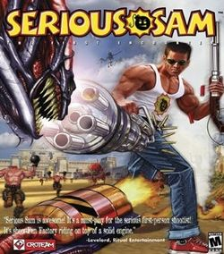 Box artwork for Serious Sam: The First Encounter.
