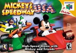 Box artwork for Mickey's Speedway USA.