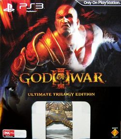 Box artwork for God of War III Ultimate Trilogy Edition.