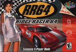 Box artwork for Ridge Racer 64.