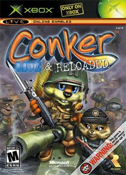 Box artwork for Conker: Live & Reloaded.