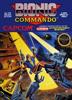Box artwork for Bionic Commando.