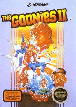 Box artwork for The Goonies II.