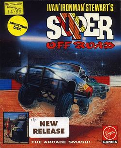 Box artwork for Ivan 'Ironman' Stewart's Super Off Road.