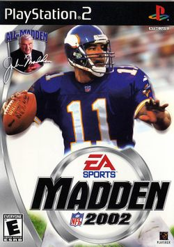 Box artwork for Madden NFL 2002.