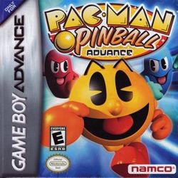 Box artwork for Pac-Man Pinball Advance.