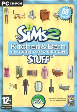 Box artwork for The Sims 2: Kitchen & Bath Interior Design Stuff.